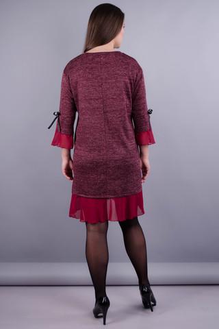 Чеслава. Сукня плюс сайз для жінок. Бордо/люрекс.