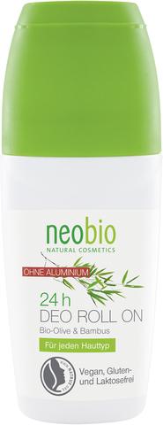 Neobio дезодорант шариковый 24 часа с био-оливой и бамбуком