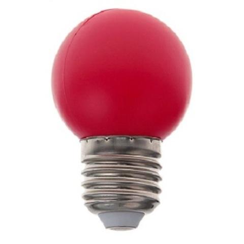Светодиодная лампа - шарик, 1Вт, Е27, красная.