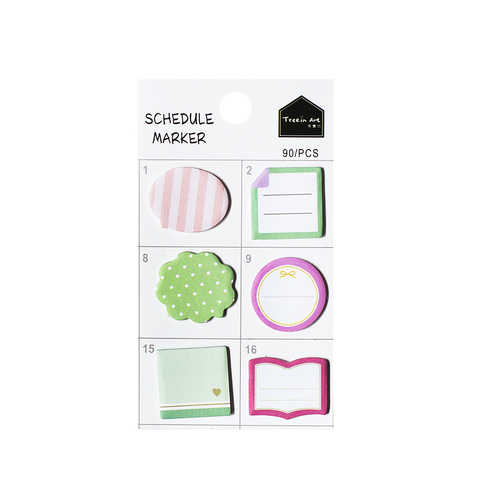Стикеры Schedule Marker Green&Pink