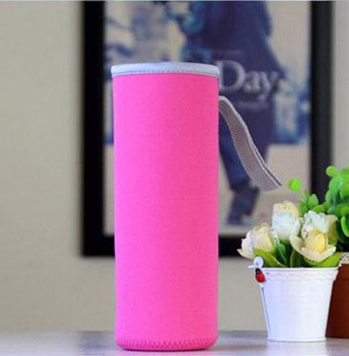 Чехол для бутылки из неопрена 19 см. розовый