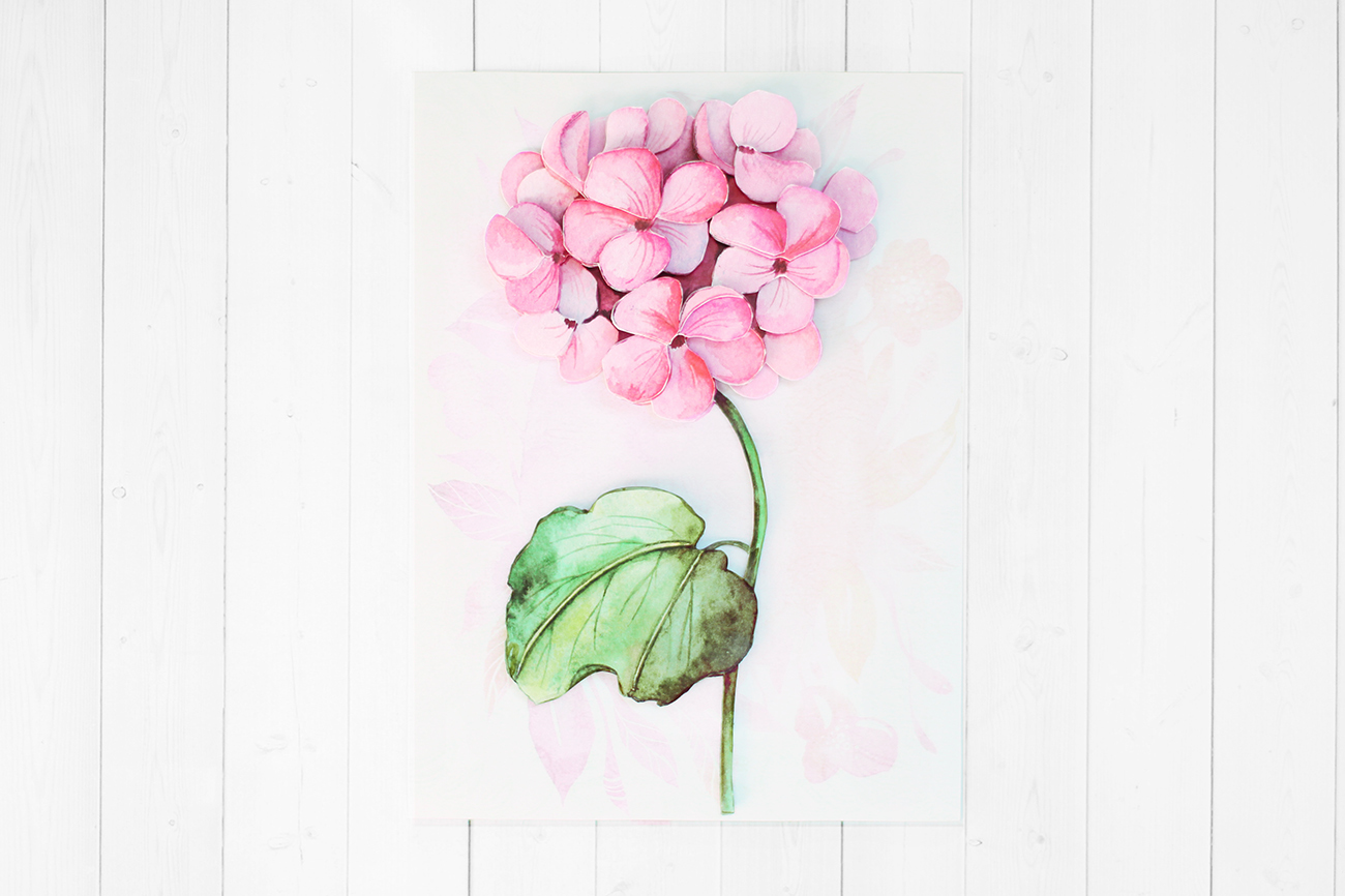 Розовая гортензия - готовая работа, фронтальный вид
