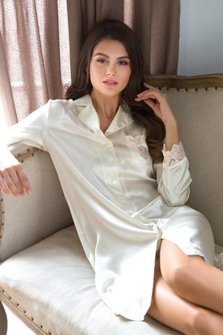 Кремовая шелковая домашняя итальянская элитная сорочка рубашка на пуговицах Миа Миа с длинным рукавом