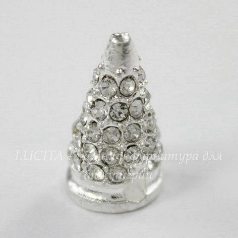 """Бусина """"Шип"""" со стразами (цвет - серебро) 19х6 мм"""