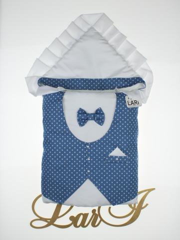 Конверт одеяло Джентльмен (белый/синий(звездочки)