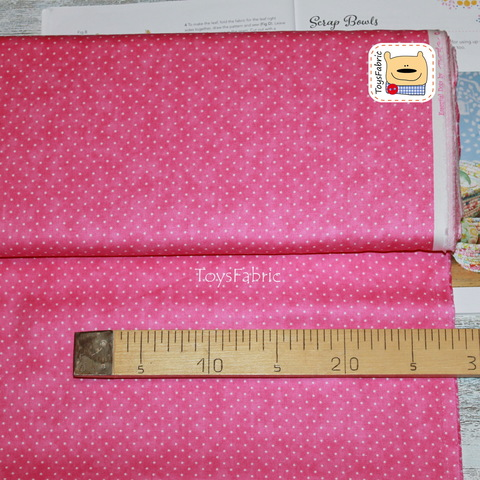Ткань для пэчворка 20816 (белый горох на ярко-розовом) 45х55