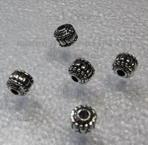 Бусина металлическая, шарик с узором (цвет - античное серебро) 7х7 мм