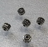 Бусина металлическая, шарик  с узором (цвет - античное серебро ) 7х7 мм