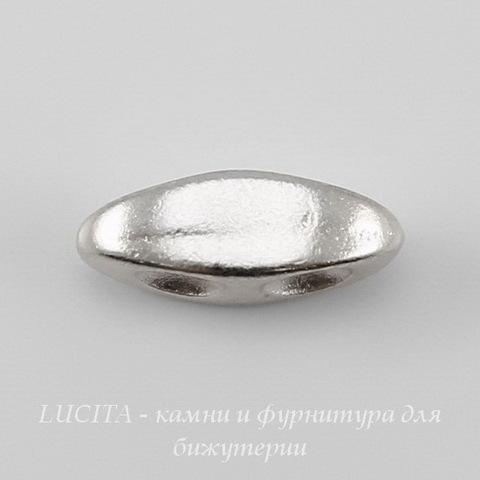 Разделитель на 2 нити TierraCast (цвет-платина) 10х4 мм ()