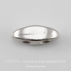 Разделитель на 2 нити TierraCast (цвет-платина) 10х4 мм