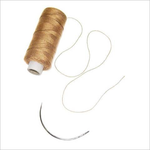 Balmainhair Нить для вшивания тресса Цвет бежевый SBW thread, 1 weaving needle beige