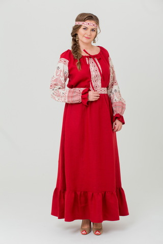 Платье льняное Брусничный цвет в русском стиле
