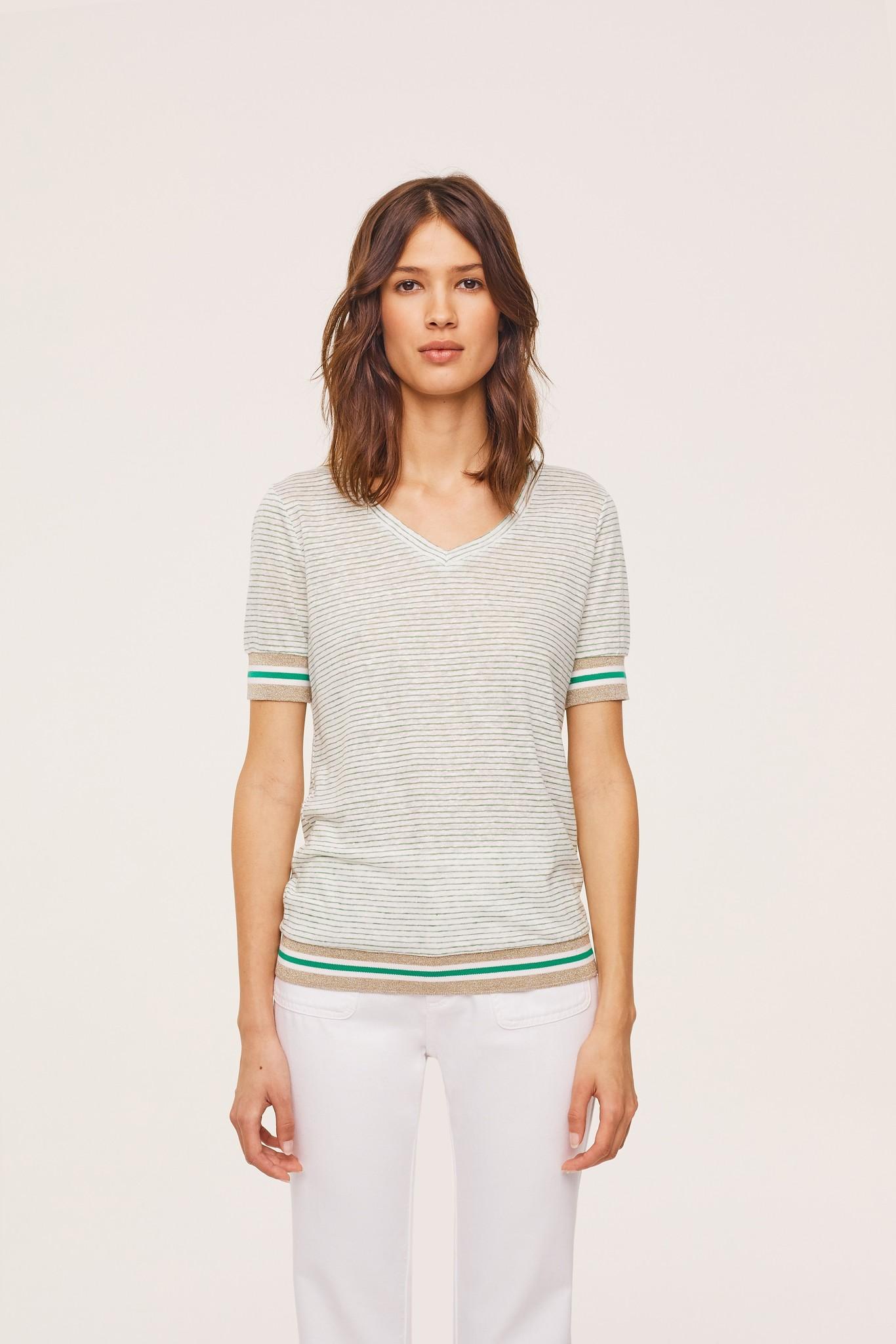 THIBAULT -Полосатая льняная футболка