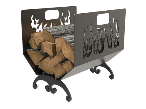 Дровница Lordsen «Пламя» стальная, черная, 450х460х350 мм