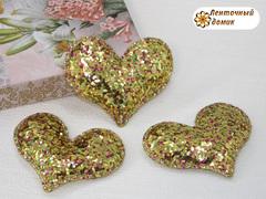 Мягкое блестящее сердце золотое №5