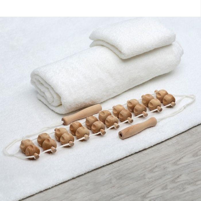 Массажер березовый ленточный для поясницы, 20 рифленных шариков