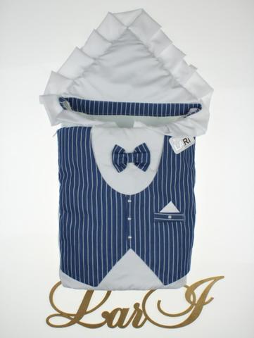 Конверт одеяло Джентльмен (белый/синий(полоска)