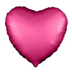 Р Сердце, Гранатовый, Сатин, 18''/46 см, 1 шт.