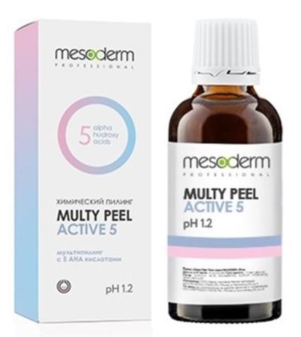 Химический пилинг Мульти Пил с молочной, лимонной, гликолевой, винной и яблочной кислотой, pH 1,2 Multy Peel Active 5 Mesoderm, 30 мл.