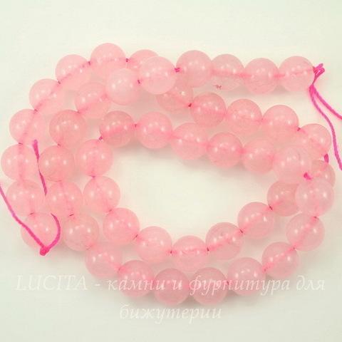 Бусина Жадеит (тониров), шарик, цвет - розовый кварц, 8 мм, нить