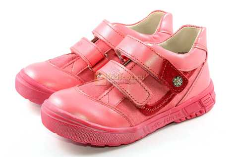 Ботинки Тотто из натуральной кожи на липучках демисезонные для девочек, цвет розовый. Изображение 6 из 12.