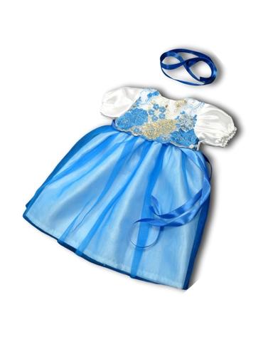 Платье из тафты - Голубой. Одежда для кукол, пупсов и мягких игрушек.