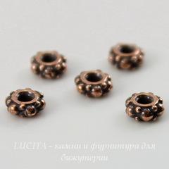 Бусина - спейсер TierraCast 4х2 мм (цвет-античная медь), 5 штук