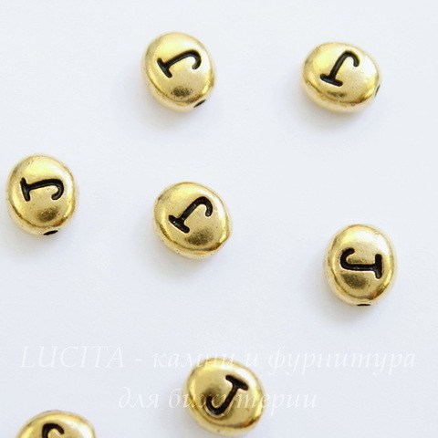 "Бусина овальная TierraCast ""Буква J"" 7х6х3 мм (цвет-античное золото)"