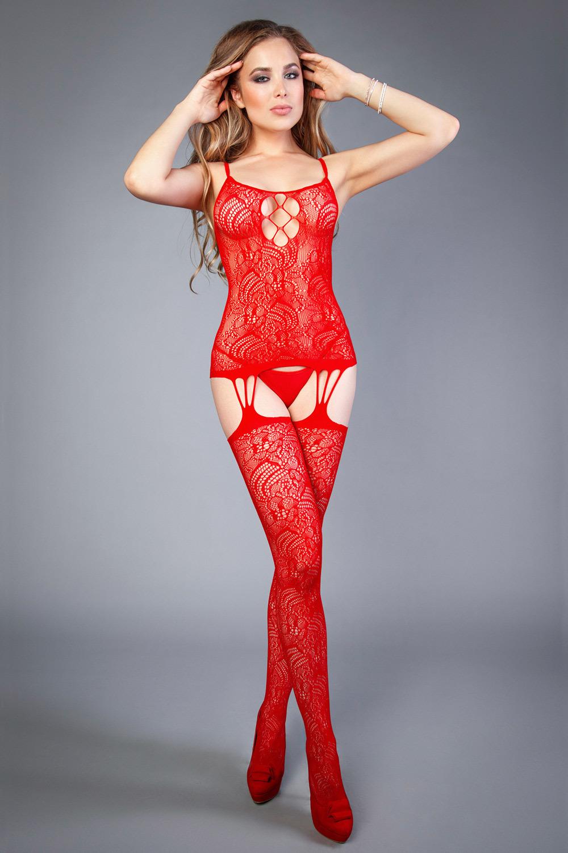 Красный бодистокинг сетка с цветами и шнуровкой (Бодистокинги)