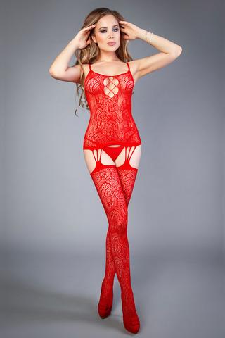 Красный бодистокинг с цветочным орнаментом и шнуровкой