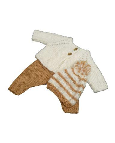 Вязаный жакет, рейтузы и шапочка - Белый / бежевый. Одежда для кукол, пупсов и мягких игрушек.