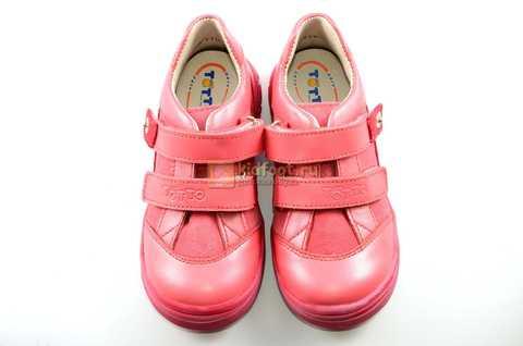 Ботинки Тотто из натуральной кожи на липучках демисезонные для девочек, цвет розовый. Изображение 9 из 12.