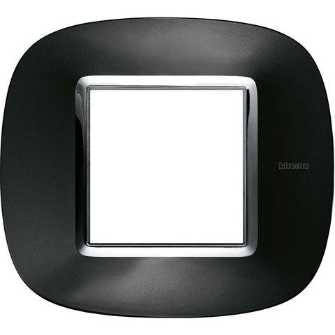 Рамка 1 пост, овальной формы. МЕТАЛЛИЗИРОВАННЫЕ. Цвет Тёмный металлик. Немецкий/Итальянский стандарт, 2 модуля. Bticino AXOLUTE. HB4802XS
