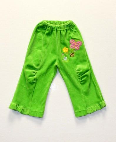 Брюки велюровые для девочки 5235 зеленый