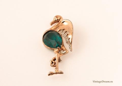 Редкая серебряная брошь Фламинго от Reja