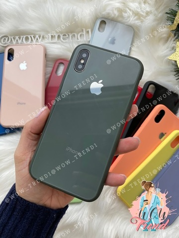 Чехол iPhone X/XS Glass Pastel color Logo /forest green/