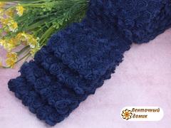 Ткань Розы на сетке темный сапфир