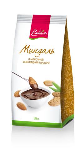 ВИВАЛЬ Миндаль в молочной шоколадной глазури 140г