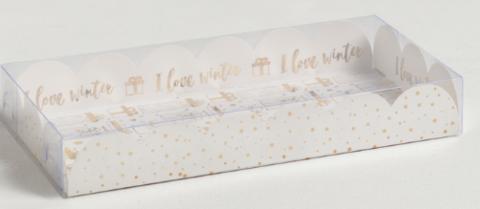060-0109 Коробка для кондитерских изделий с PVC крышкой «Снег», 10.5 × 21 × 3 см
