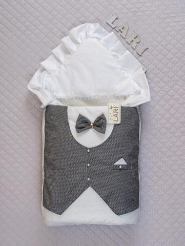 Зимний конверт одеяло Джентльмен (белый/цв,(клетка)