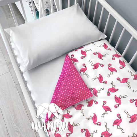 Підодіяльник дитячий 110 на 140 см з рожевими фламінго фото
