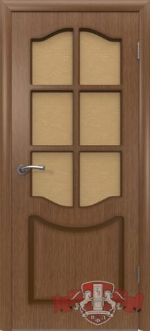 Дверь 2ДР3 (орех, остекленная шпонированная), фабрика Владимирская фабрика дверей