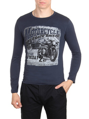 30198-4 футболка муж. с длинным рук. темно-синяя