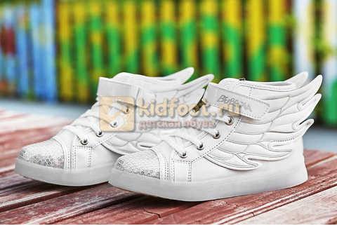 Светящиеся кроссовки с крыльями с USB зарядкой Бебексия (BEIBEIXIA), цвет белый серебряный, светится вся подошва. Изображение 8 из 18.