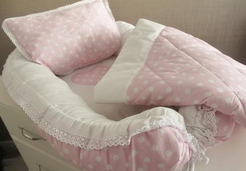 Babynest Комплект кокон + подушечка декоративная + одеяльце розовый в белый горох