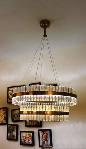 replica Saturno LED 2 rings gold Pendant by Baroncelli