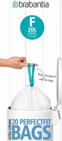 Мешки для мусора PerfectFit, размер F (20 л для высоких баков), рулон, 20 шт., арт. 245305 - фото 1