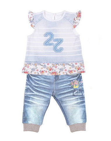 Папитто. Комплект футболка и штанишки для девочки с цветами FASHION JEANS