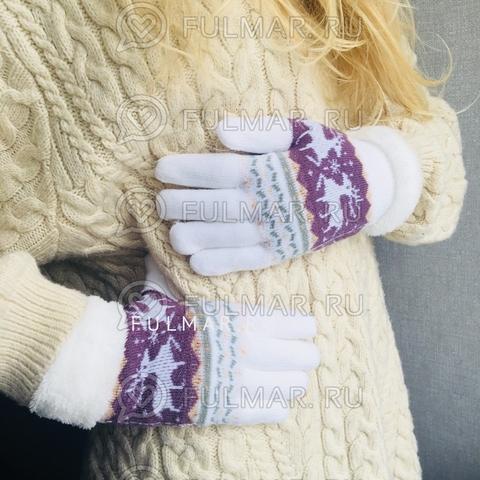 Перчатки с оленями шерстяные (Цвет: белый)