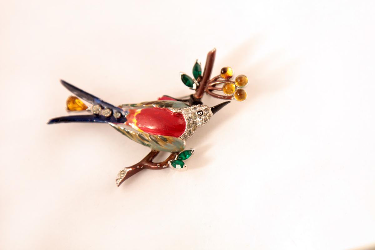 """Редкая брошь """"Птица на ветке"""" от Mazer,  30-40-е гг."""